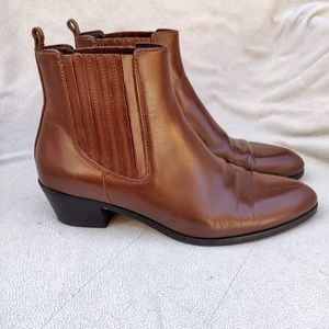 J Crew Western Brown Leather Booties Boots